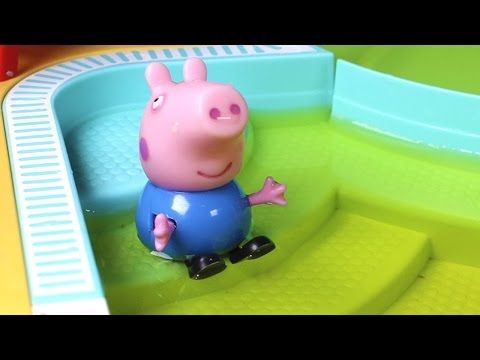 Peppa Pig English Peppa Pig and George go to the swimming pool, and George pees in the water - YouTube
