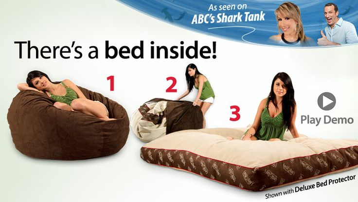 These cool bean bag chairs have a bed inside! Remove the cover, reveal a bed.  I think they'd be terrific for the media room and for kid sleepovers!