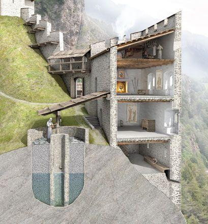 Rekonstruktionsversuch der Talsperre Juvalta bei Rothenbrunnen. Nach Entwürfen von Felix Nöthiger, 2013