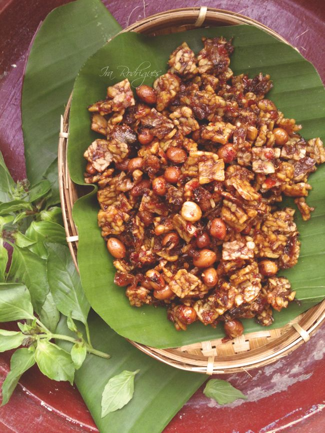 Kering tempe dan kacang (spicy tempeh and peanuts).  Maybe add anchovies for extra flavor?
