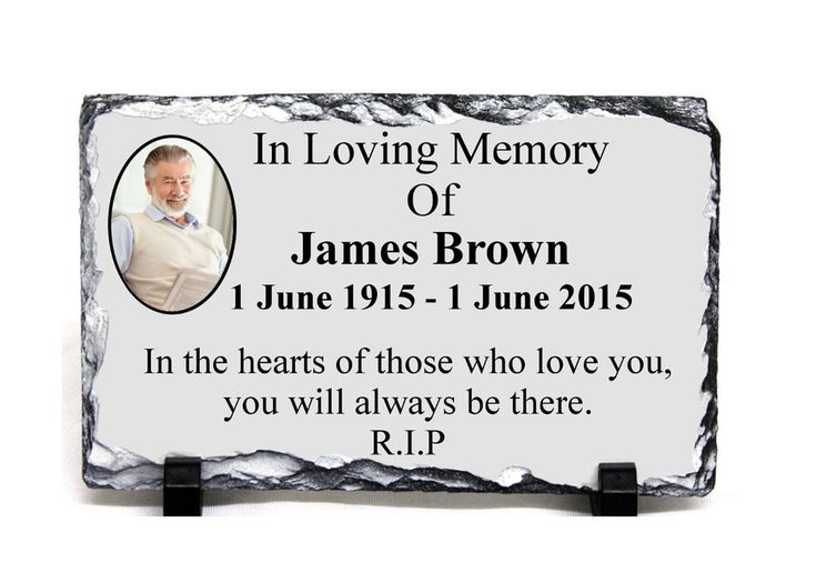 Custom Personalised MEMORIAL SLATE ROCK With Photo 19x14cm with stands Funeral 4