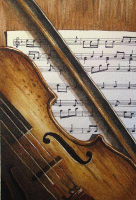 For my future music room...Violin watercolor painting by Lynn Pratt