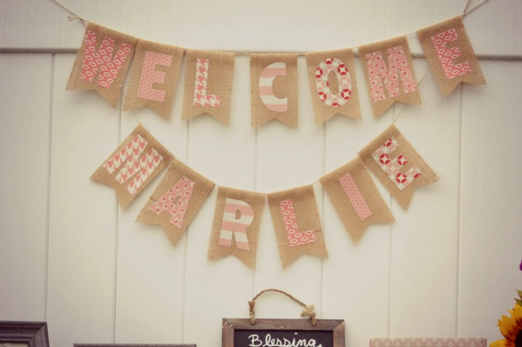 WELCOME BABY, Nursery, Baby Shower Decoration, Maternity Photo - Burlap Banner. $54.00, via Etsy.