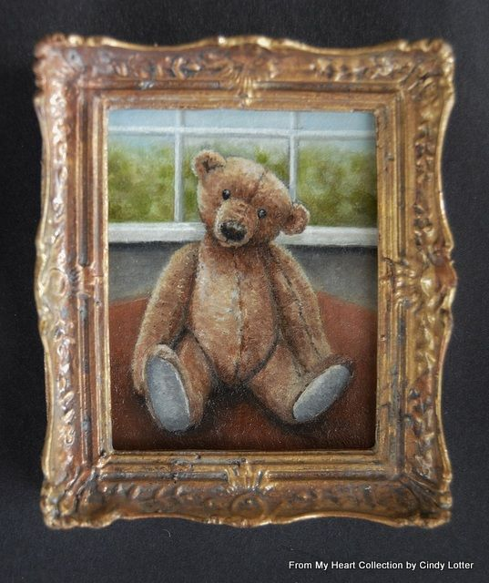 """""""Teddy on Table' - An Original Oil Painting by Cindy Lotter"""