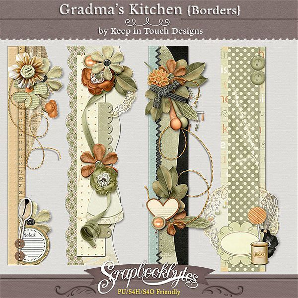 Grandma's Kitchen {borders} :: Page Edges :: Embellishments :: SCRAPBOOK-BYTES