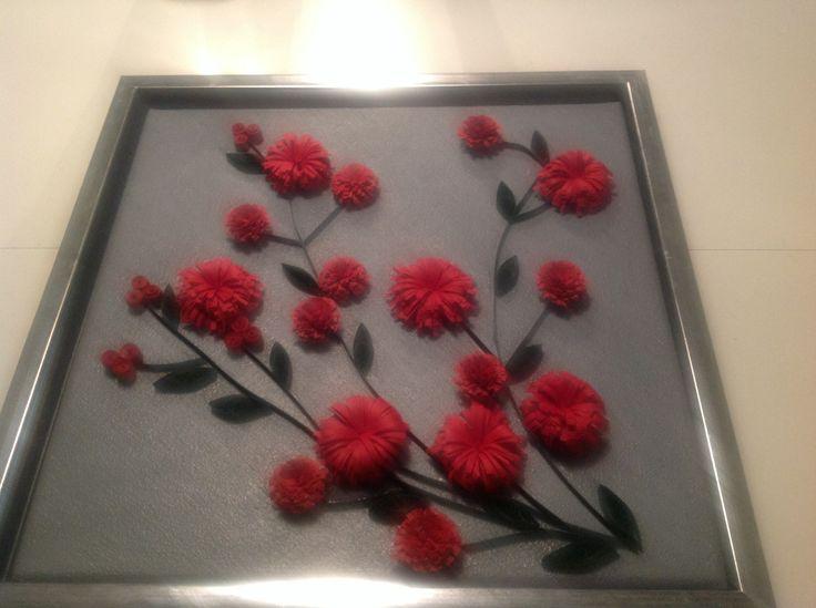 Billed med blomster, lavet i quilling papir