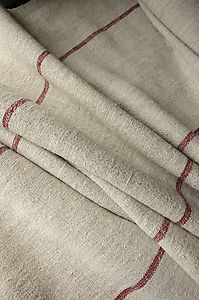 Vintage Homespun linen / hemp yardage 4.5 YDS LOVELY wide stripes ~ fabric ~