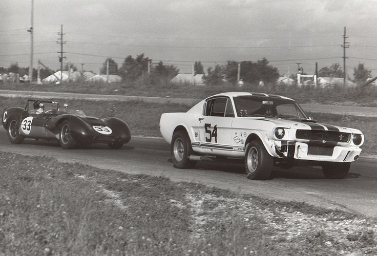 Mustang GT350 racing at Waterford Hills, MI 1968. From the George Watters Collection.