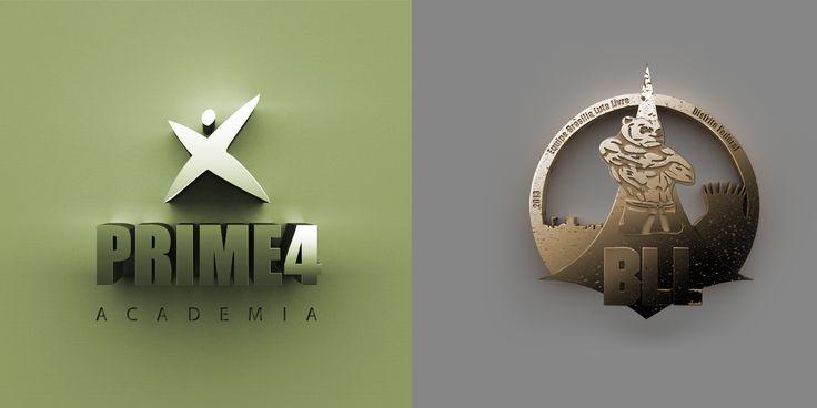 Logo Prime 4 Academia e Logo Brasília Luta Livre - Adobe Illustrator + Photoshop + plugin 3d