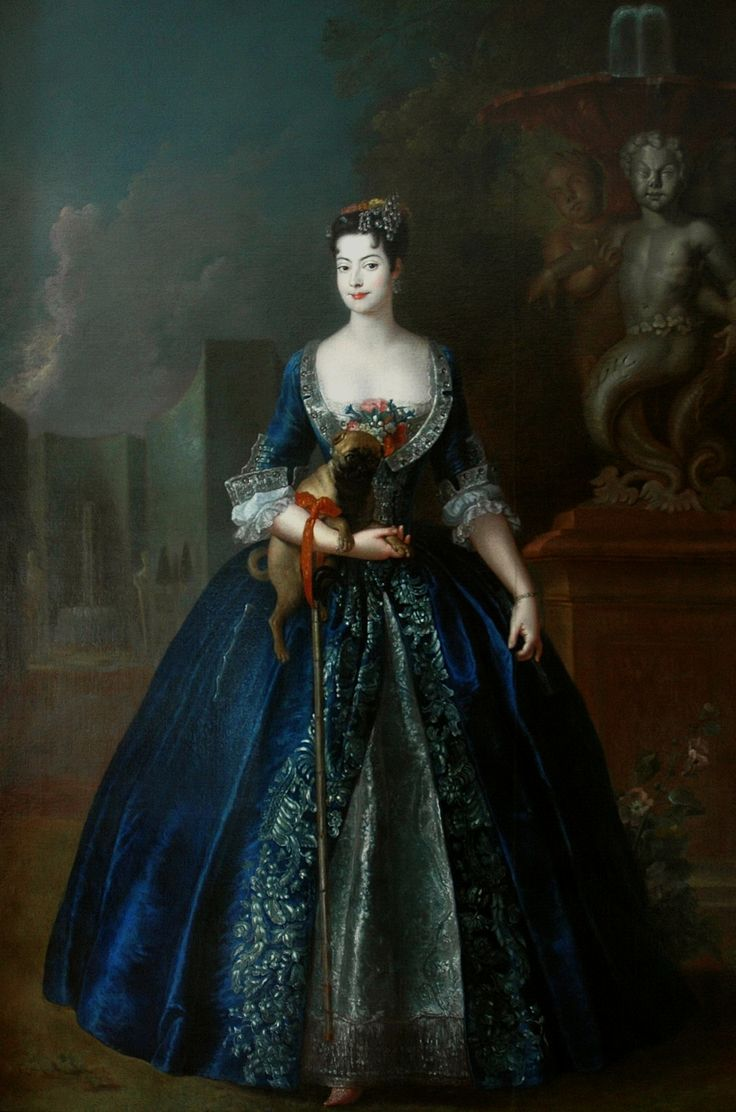 Portrait of Anna Orzelska with a pug standing in the garden of her Blue Palace in Warsaw by Antoine Pesne, ca. 1728 (PD-art/old), Muzeum w Nieborowie i Arkadii