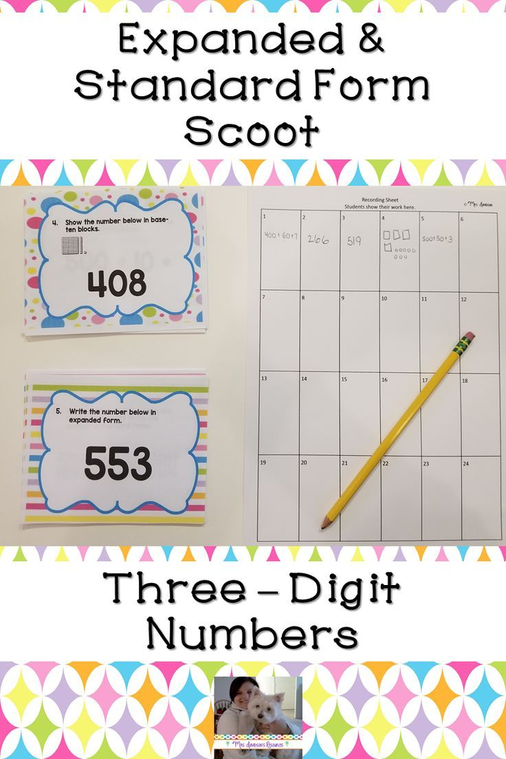 Expanded Form & Standard Form Scoot | Elementary math ...