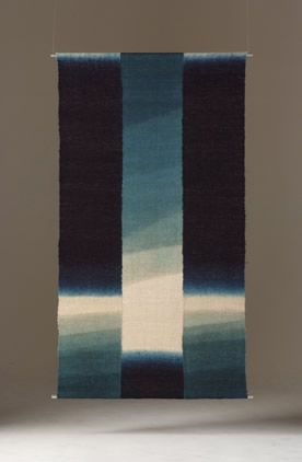 SHIHOKO FUKUMOTO (SFU005) A long indigo dyed fibre hanging - the original form made from Okusozakkuri, hemp work wear, especially made in only Ishikawa and Fukui prefecture. in the 19th Century, (maybe Meiji or Taisho period). Made in 2008, 172 x 93 cm