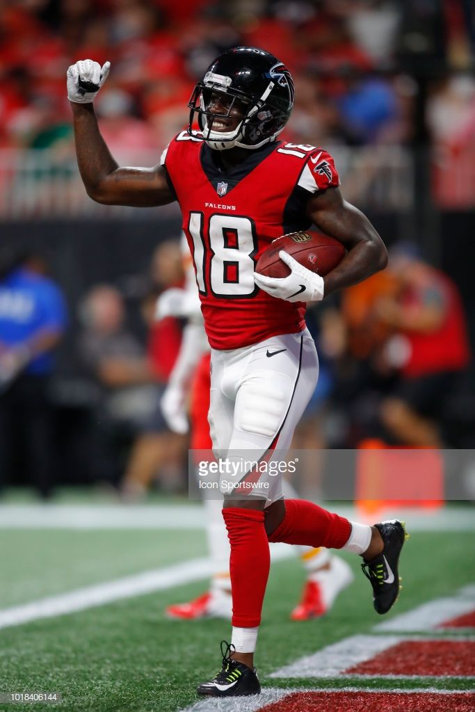 Atlanta Falcons Wide Receiver Calvin Ridley Celebrates After Scoring Falcons Nfl Preseason Atlanta Falcons