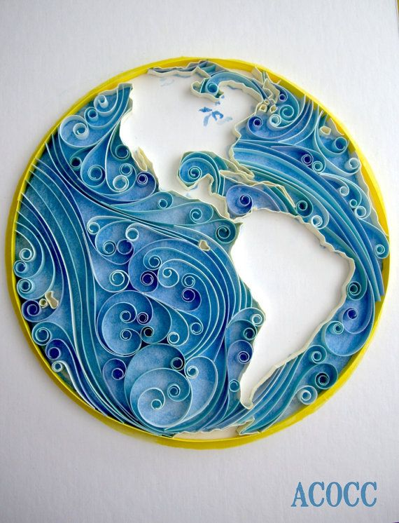 Planet earth as paper quilled art