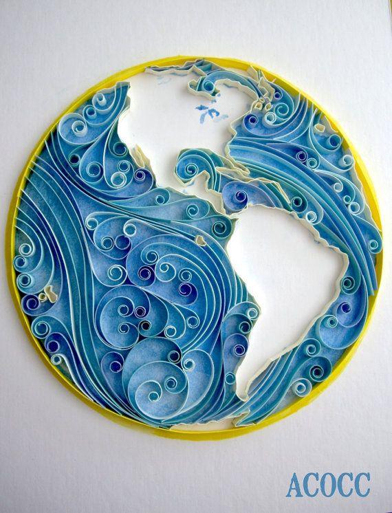 Quiller Earth Flow- Paper Quilled Art - Custom Build - 8 x 10