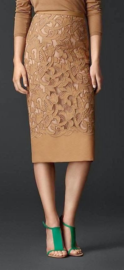 Royal brown lacer cut pencil skirt