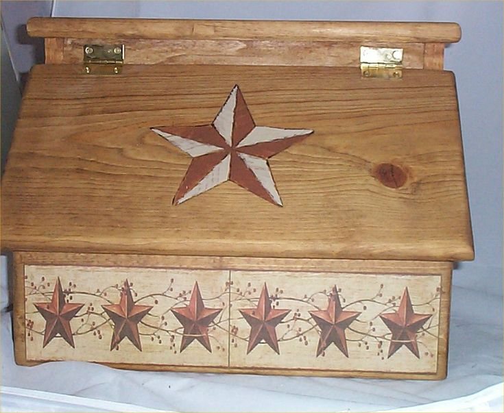 Wood Bread Box Country Stars Primitive Western Lodge Cabin Handcrafted