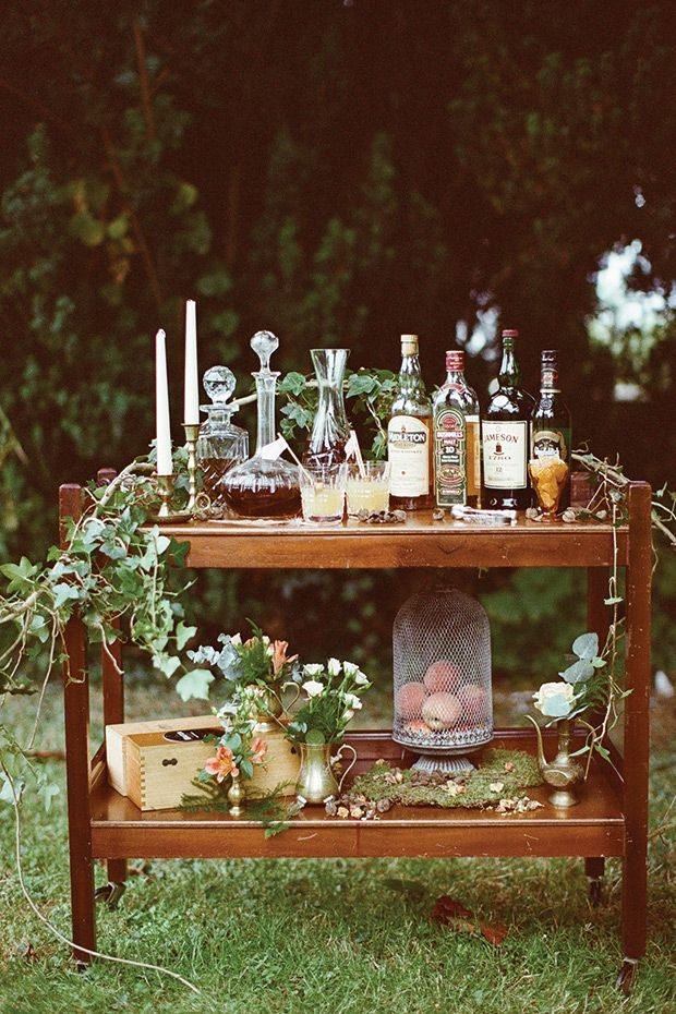 Love the vintage decanters. Boho Luxe Wedding Inspiration by Brosnan Photographic and Styled by Amber | www.onefabday.com