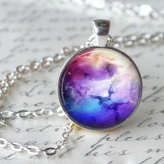 NEBULA Necklace Pendant Space Omega Jewerly by LiteraryArtPrints