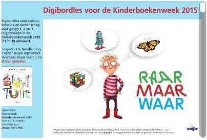 Digibordlessen van Rian Visser voor groep 1-2-3, 3-4-5 en 6-7-8 vind je op http://www.rianvisser.nl/kinderboekenweek/