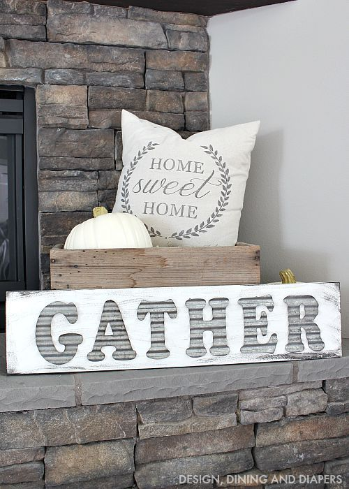DIY Gather Sign - A perfect piece for your mantel or sitting room