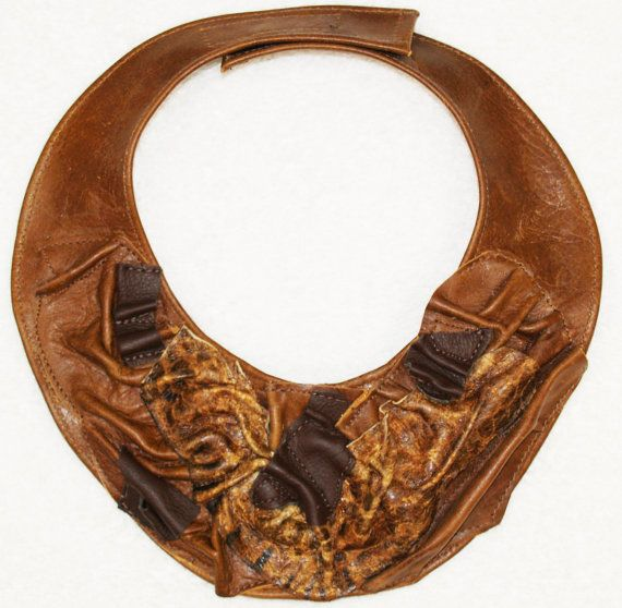 Multi Brown Leather Bib Collar Necklace with Textured Leather Pieces