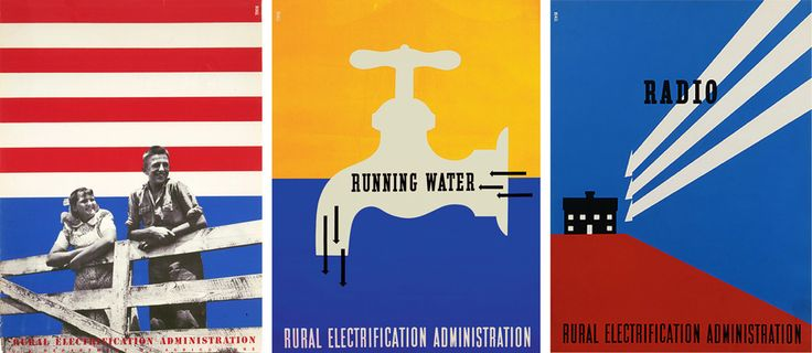 Several of Lester Beall's posters for the Rural Electrification Administration.