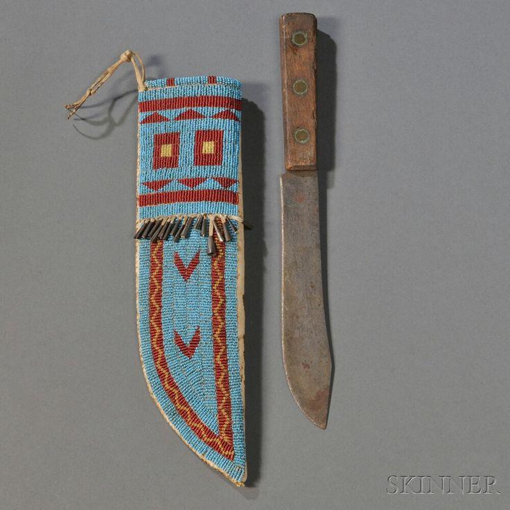 Sioux knife sheath, c.19th century.