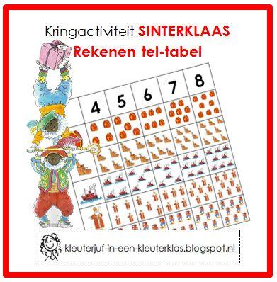 Kringactiviteit rekenen - Tel-tabel thema Sinterklaas