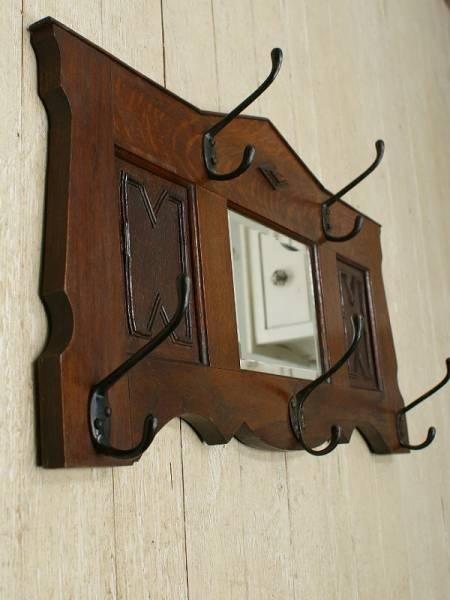 Wall Hook イギリスアンティークフック付き壁掛けルームミラー鏡1683 インテリア 雑貨 家具 Antique ¥20000yen 〆05月20日