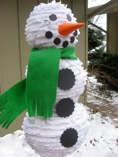 A snowman pinata..great for a children's Christmas party.
