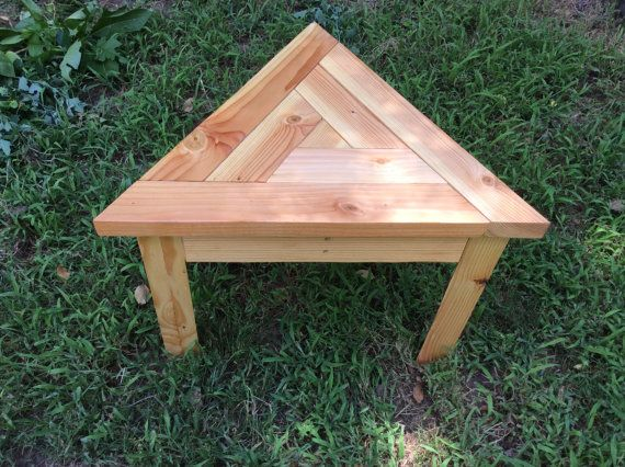 Outdoor Side Table Spiral Triangular Top Outdoor