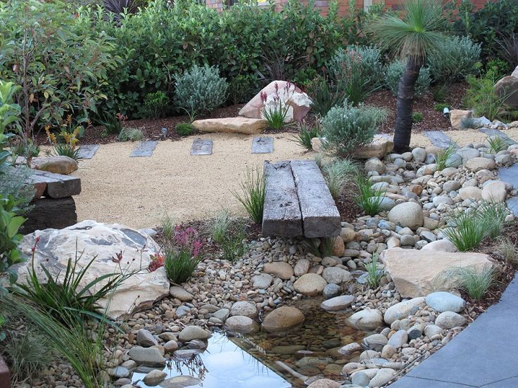 japanese garden using australian native plants  flowing waterfall  creek and pond  materials