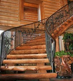 Architectural Stair Builder Custom Crafts One Of A Kind Radial Curve Stairs.  Log Treads Are