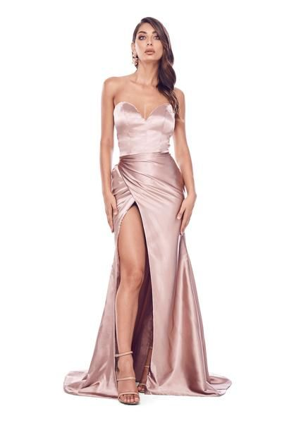 d314d31eba4 Adilah Gown - Rose Gold Satin Strapless Sweetheart Wrap Ruched Dress ...
