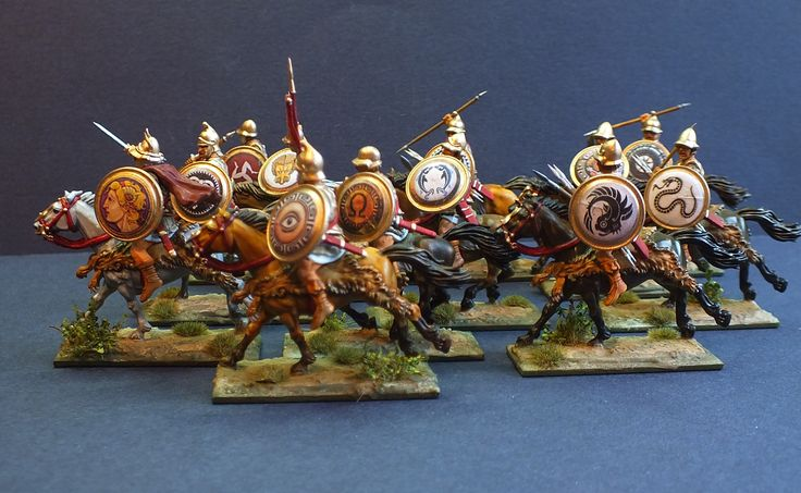 28mm Ancients Greek Heavy Cavalry. Painted by Bob Hornsby
