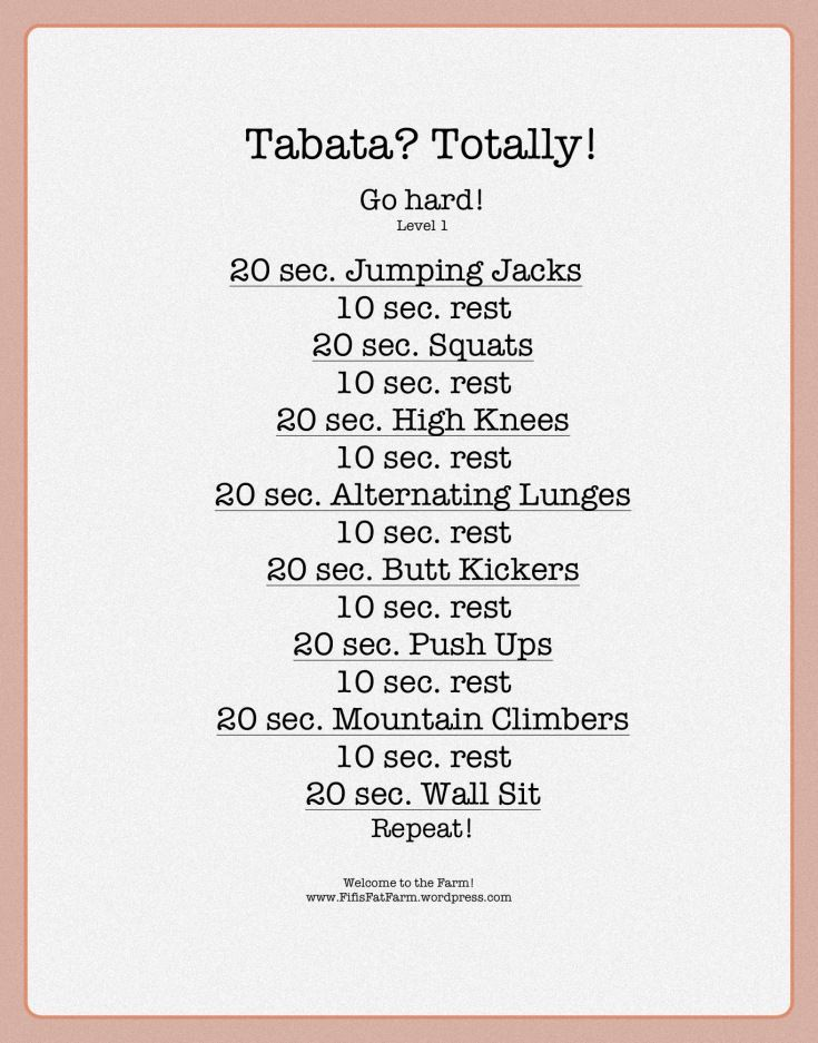 Complete each exercise plus the 10 sec rest 4 x before moving on for 16 minutes of  tabata burn.