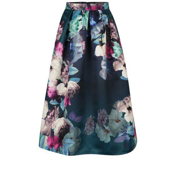 Fusta midi verde&roz cu print floral Closet
