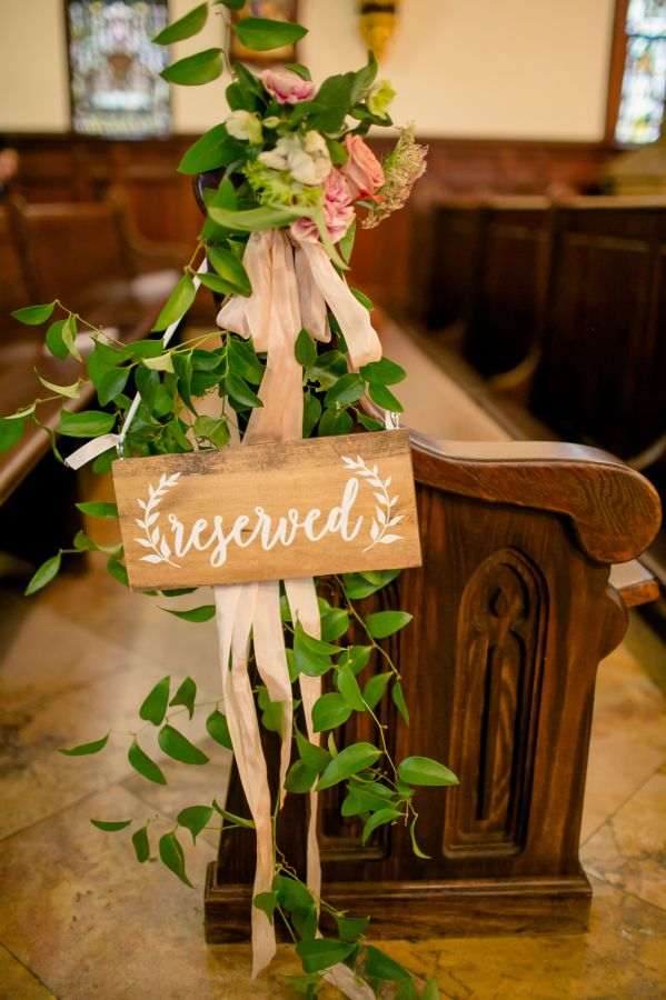 Rustic reserved seat: http://www.stylemepretty.com/texas-weddings/austin/2016/01/14/elegant-villa-del-lago-fall-wedding/ | Photography: The Nichols - http://www.nicholsphotographers.com/