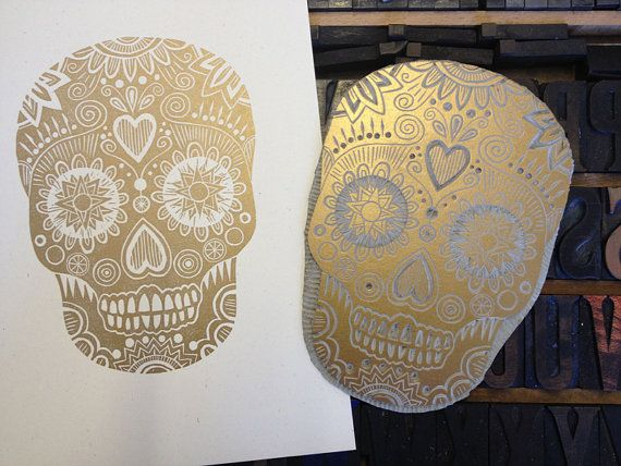 Sugar Skull Linoprint by TheRedButtonPress on Etsy