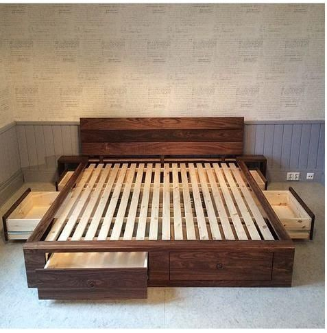 You Can Easily Put Your Sheets Blankets And Other Bedroom Accessories In This Pallet Wood Bed It Is