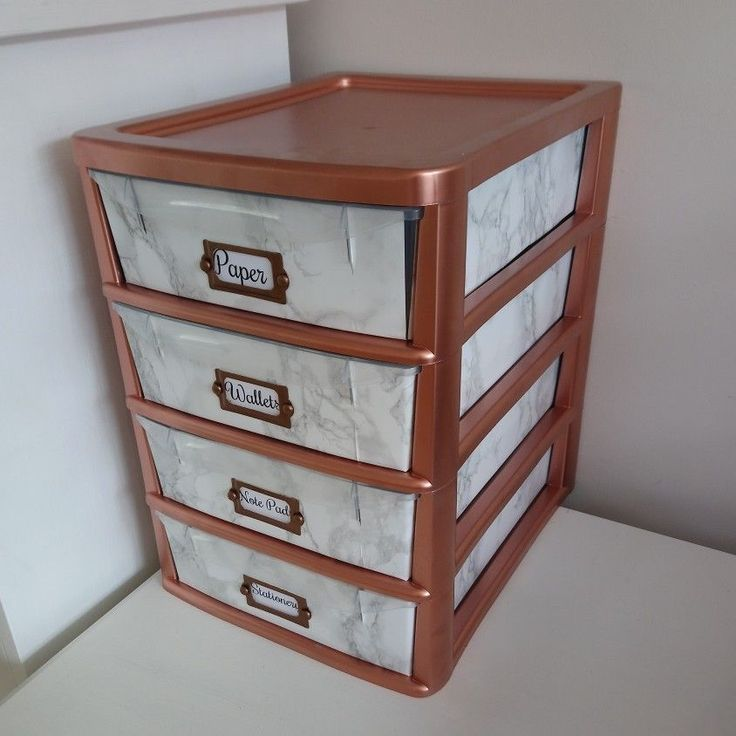 Upcycled Plastic Drawers Rose Gold Spray Paint With Marble Contact Paper Plastic Drawers Paint Plastic Drawers Plastic Drawer Makeover