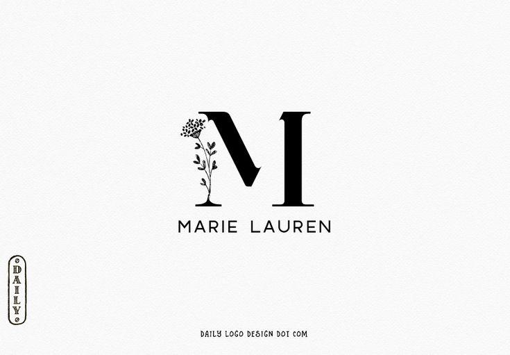 Minimalist Typographic Floral Monogram Logo Design by Premade Logo Sale, Paris Studio 36 #LogoDesign #etsyshop #cover #boutique #Branding #restaurant #photography #ecommerce