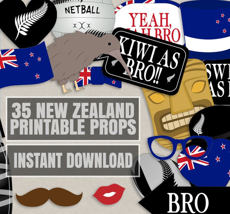 35 New Zealand Photo Booth Props, Kiwi themed party props, i love new zealand party, kiwi photobooth sign, kiwi flag, new zealand props by YouGrewPrintables on Etsy