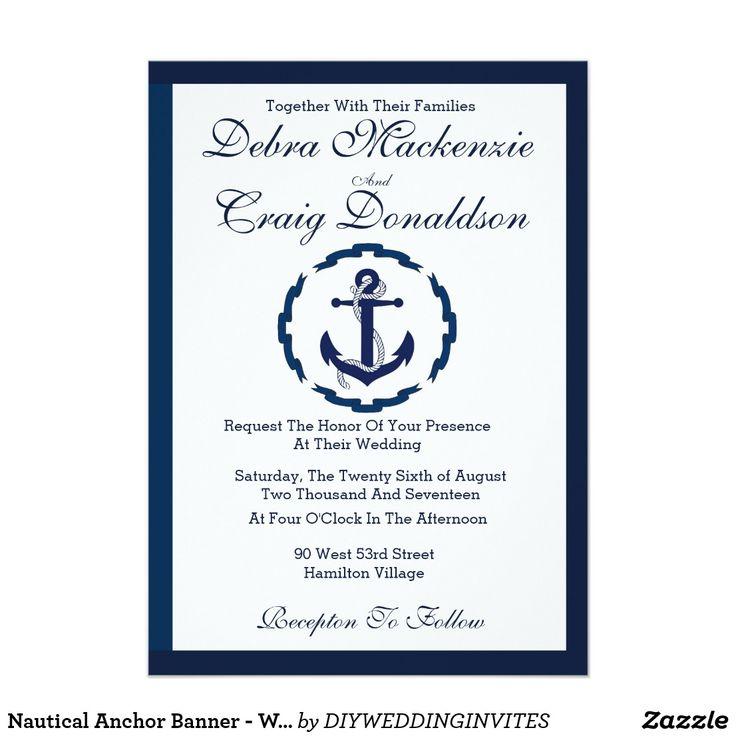 Nautical Anchor Banner   Wedding Invitation