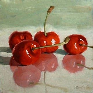 "Daily Paintworks - ""Cherries On Glass"" by Michael Naples  6*6"