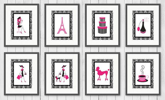 Paris wall art baby girl nursery art hot pink by PaperKStudios