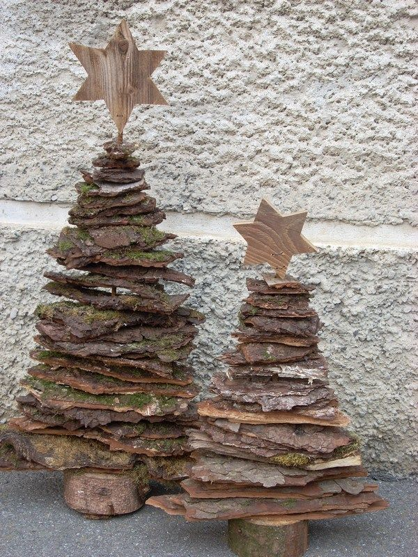 I6011 deko baeume aus rinde mit eisenstern 600 800 project ideas pinterest - Adventsdeko aus holz ...