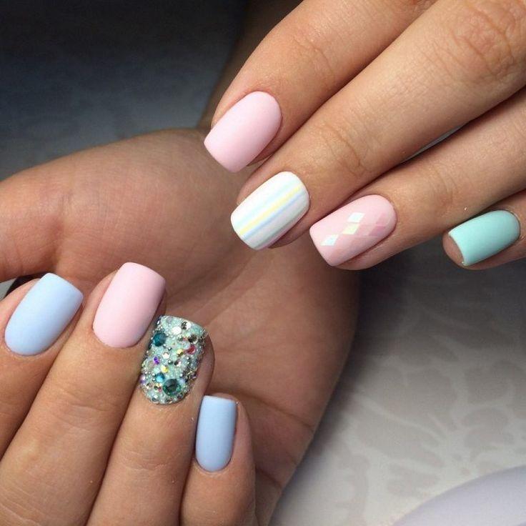 Beautiful nails 2017, Matte nails, Matte nails with glossy pattern, Medium nails, Nails ideas 2017, Pastel nails, Square nails, Summer nails 2017