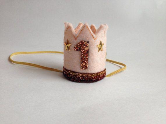 Birthday Crown Blush Felt Crown Headband MINI by littleblueolive, $19.00
